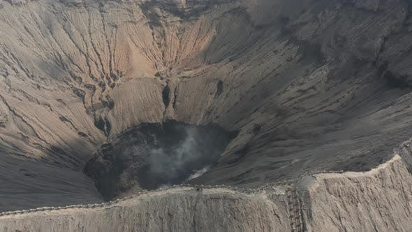 Thumbnail for Aerial view inside the crater of an active volcano