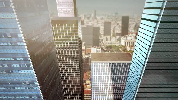 Thumbnail for Panorama of city landscape with many big buildings and streets in summer day