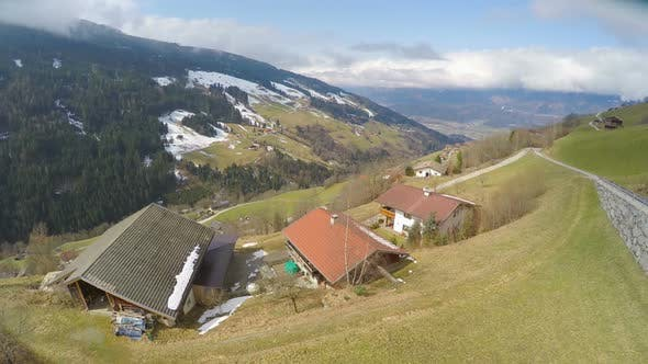 Thumbnail for Aerial Shot of Private Household, Small Farm in Austrian Alps, Amazing Top View