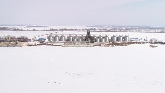 Thumbnail for Aerial View of the Big Grain Elevator in Winter