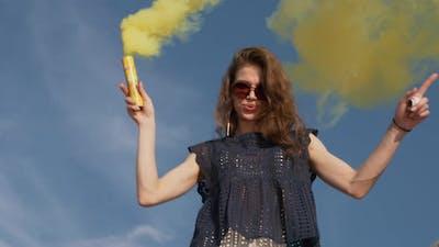 Woman Dancing with Smoke Bomb