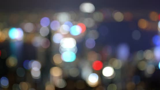 Thumbnail for Blur of city skyline at night, focusing bokeh