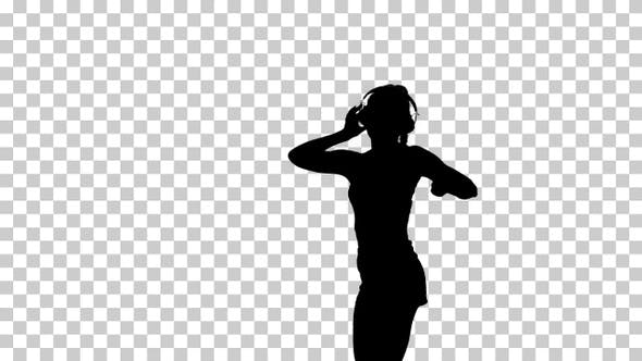 Thumbnail for Silhouette Young happy sportive woman dancing and listening