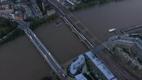 High Angle View of Trains Driving on Multi Track Grosvenor Railway Bridge