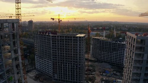 Building Construction Crane Sunset Industrial Architecture Work