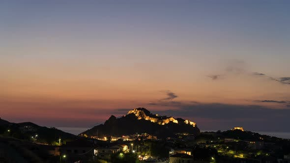 Thumbnail for Time Lapse of Nightfall Above Byzantine Castle in Myrina, Greece
