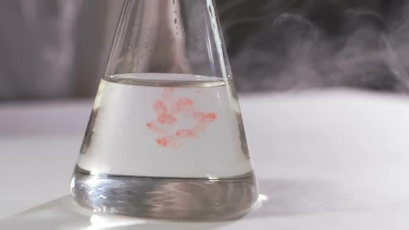 Colored Beautiful Chemical Reaction In Flask.
