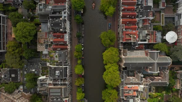 Thumbnail for Amsterdam, Netherlands Canal Overhead Birds View with Boat Traffic
