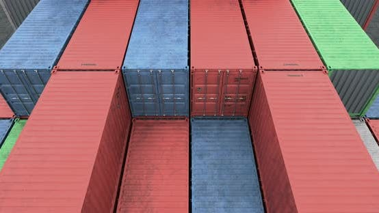 Cover Image for Drone Angle View of Cargo Shipping Container Stacks