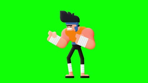 Animation of fighting character, punching and raising leg.