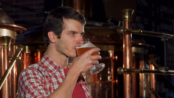 Thumbnail for Professional Male Brewer Drinking Craft Beer at His Own Brewery