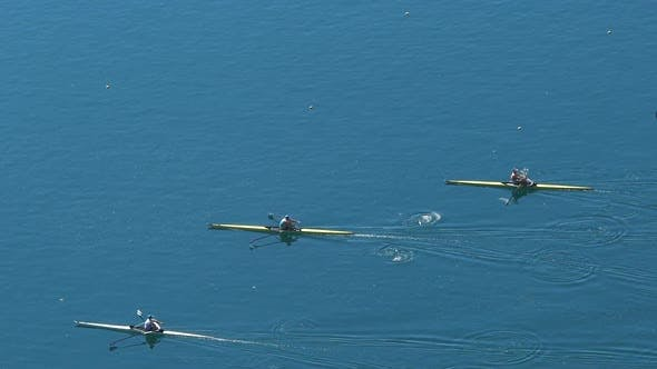 Thumbnail for Rowing Race Between Three Participants, Professional Water Sports, Slow Motion
