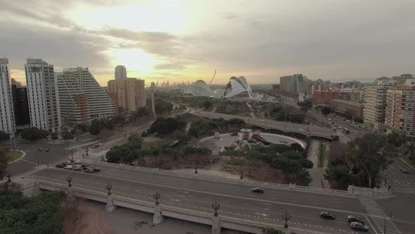 Aerial View of Valencia with City of Arts and Sciences at Sunset, Spain