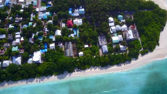 Luxury drone tourism shot of a paradise sunny white sand beach and aqua turquoise water background i