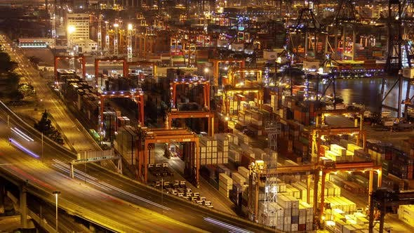 Thumbnail for Timelapse Special Cranes Load Hong Kong Cargo Vessels