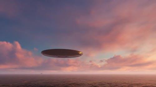 3d render UFO above the ocean