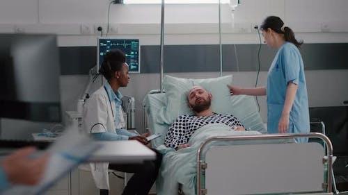 Medical Practitioner Doctors Checking Sick Man Analyzing Disease Symptom