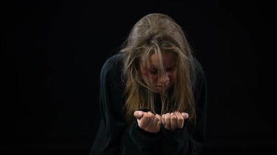 Desperate Marital Abuse Victim Crying in Despair, Human Rights Violation, Abuse