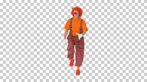 Lustiger Clown, der irgendwo zu Fuß rauscht, Alpha Channel