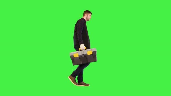 Construction Worker Carry Toolbox Male Handyman or Electrician Walk with Box of Tools for Repair on