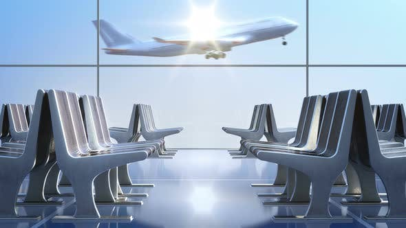 Cover Image for Passenger Airplane Landing as Seen through Departure Hall Windows