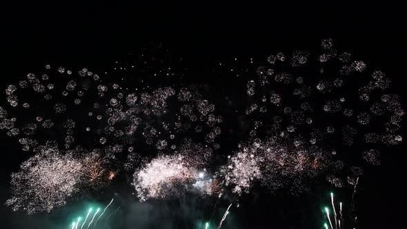 Close Up Slow Motion of Colourful Abstract Futuristic Fireworks Show Night Sky