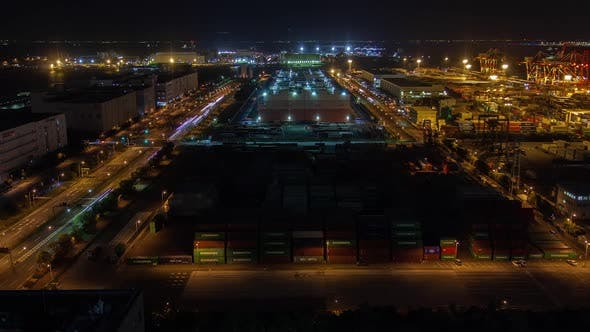 Freight Container Terminal Night Docklands Tokyo