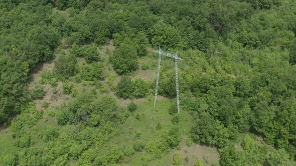 Thumbnail for Transmission cables of electric power tower 4K aerial footage
