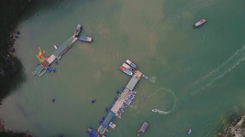Directly above of boats in Halong Bay