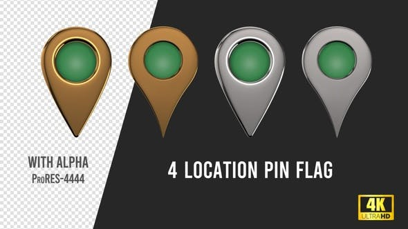 Libya Flag Location Pins Silver And Gold