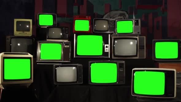 Thumbnail for 80s Retro TVs Turning On Green Screen.