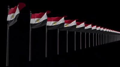 Row Of Egypt  Flags With Alpha 2K