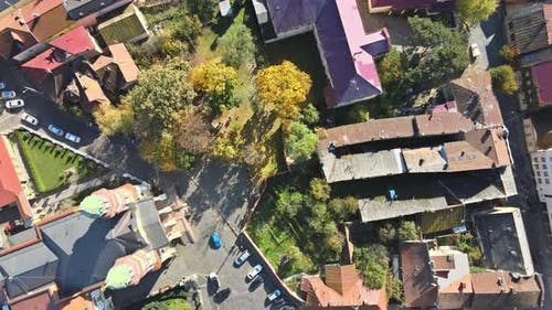 View From the Height of the City on the Roofs of Houses Trees in the View Uzhhorod Ukraine Europe