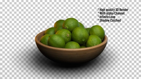 Cover Image for Limes in bowl rotating - Fruits Rotate