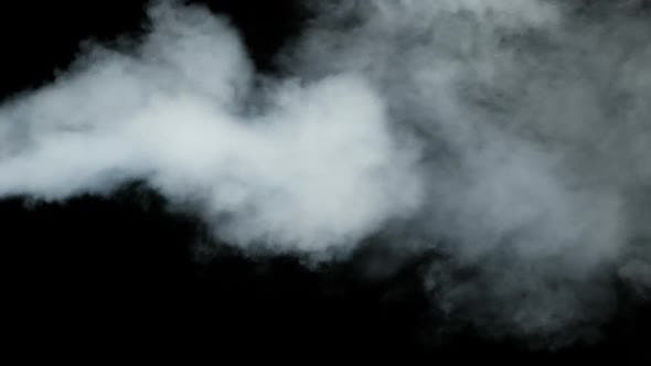 Water Vapor, Slow Motion 240Fps., Jet of Steam Under Pressure on Black Background