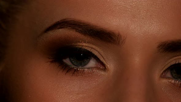 Thumbnail for Eyes of Young Woman with Natural Makeup. Black. Closeup