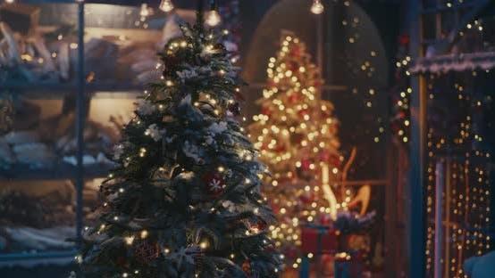 Thumbnail for Santa Claus with Presents Walking Near Christmas Tree