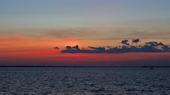 Panorama of Beautiful at Coast Sunset on the Ocean