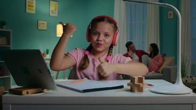 Schoolgirl Is Dancing During Online Class