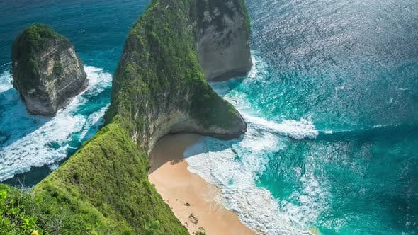 Thumbnail for Waves Rolling on Manta Bay or Kelingking Beach on Nusa Penida Island, Bali, Indonesia