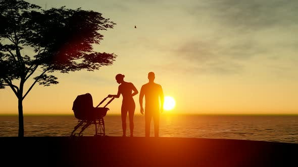 Thumbnail for Silhouette of Family with Newborn Children and View of Sunset