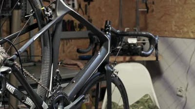 Close View of Bicycle in Workshop