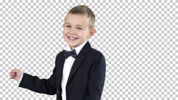 Thumbnail for Little boy in formal outfit talking and smiling, Alpha Channel