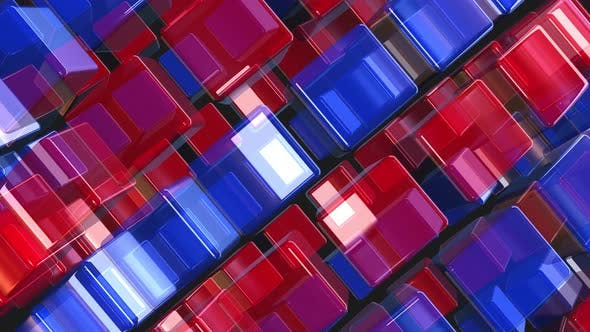 Colored Glass Cubes Loop 4k