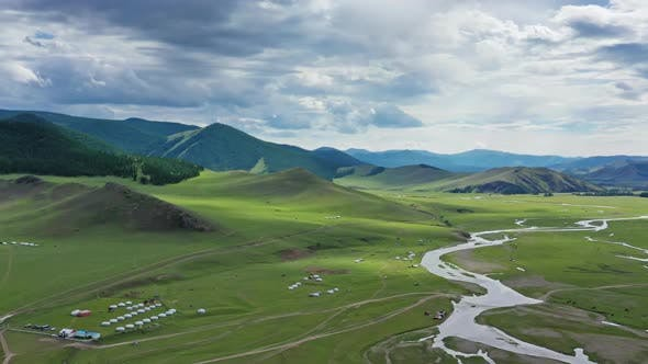 Thumbnail for Aerial View of Yurts in Steppe in Mongolia