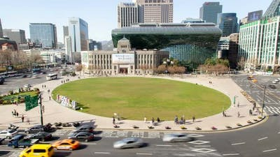 Aerial Seoul Plaza Korea Metropolitan Library