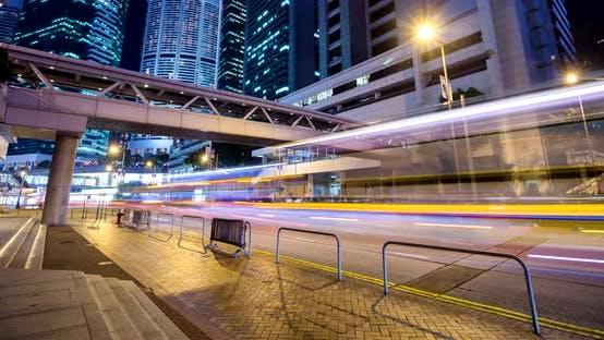 Thumbnail for Timelapse of Hong Kong traffic at night