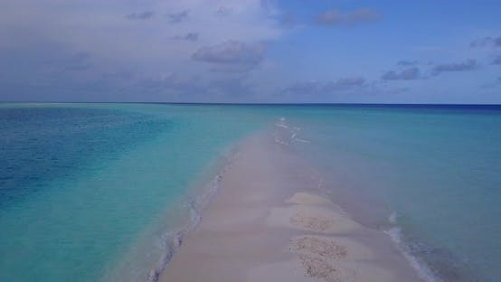Thumbnail for Natural above island view of a white sandy paradise beach and blue sea background in colourful 4K