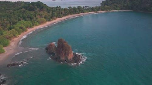 Espadilla South tropical Beach at Manuel Antonio National Park, Costa Rica. Aerial drone view