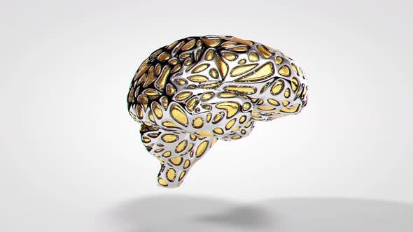 Thumbnail for Abstract Golden Silver Brain Rotating without Bokeh